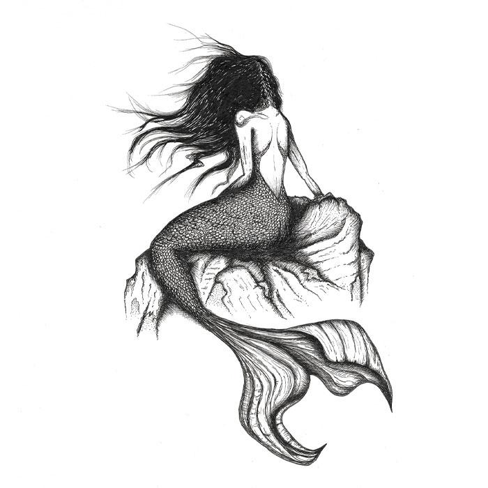 Mermaid pen drawing