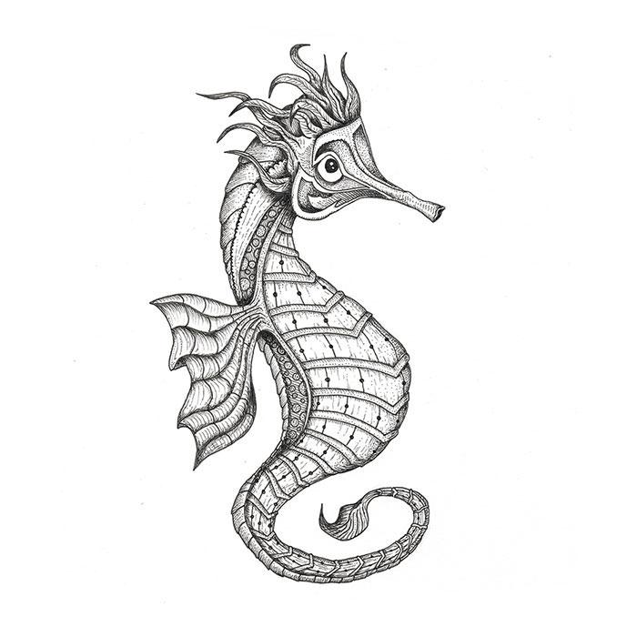 Seahorse pen sketch