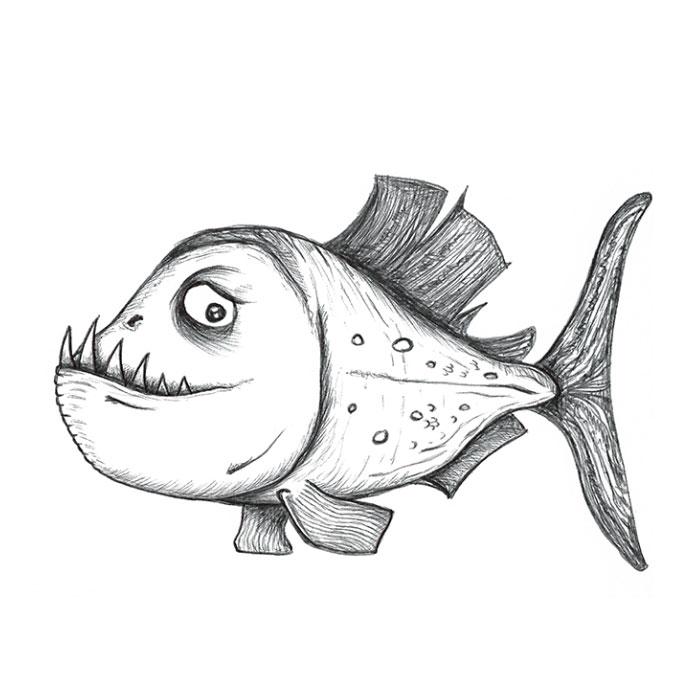 Piranha cartoon sketch
