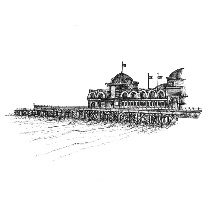 South Parade Pier in Portsmouth pen sketch