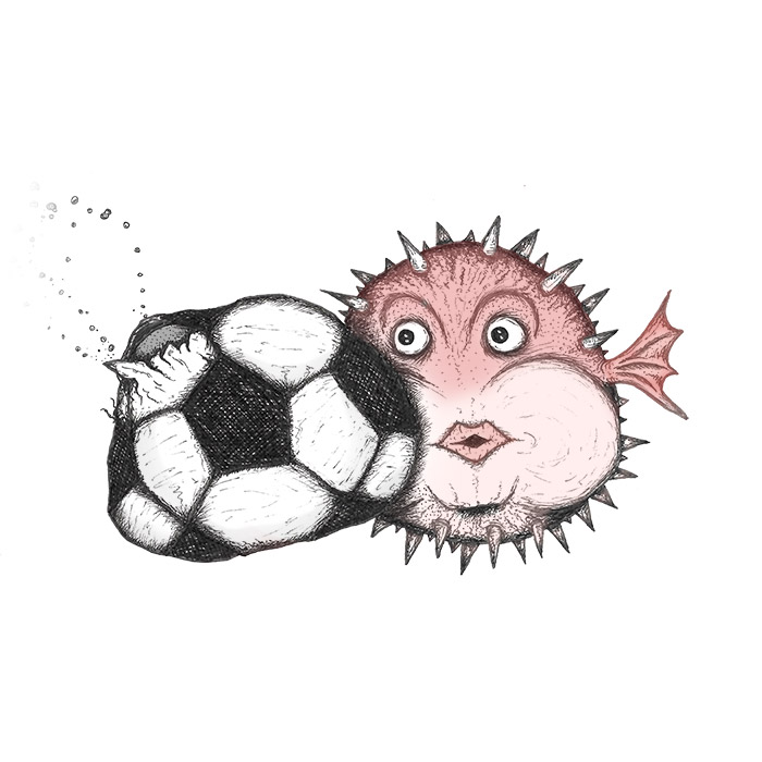 Puffer fish meets a football drawing