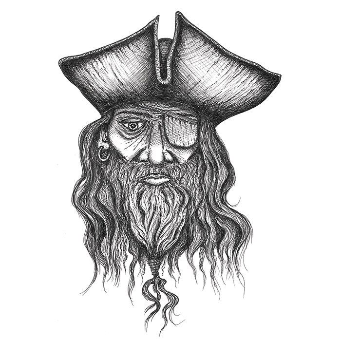 Pirate with a beard drawing