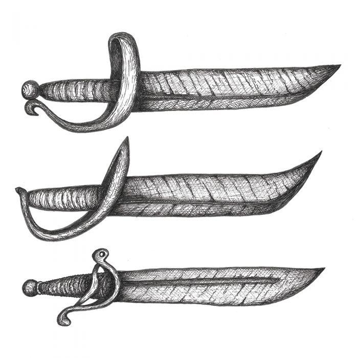 Pirate sword & cutlass drawing