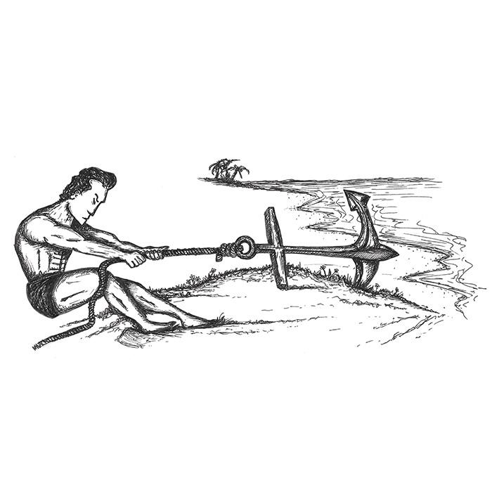 Man pulling an anchor drawing