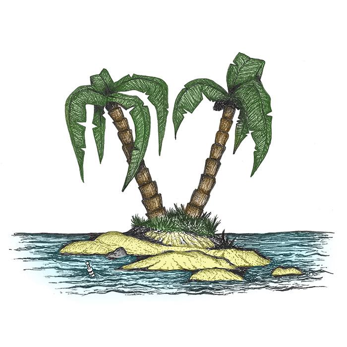 Palm tree on a beach drawing